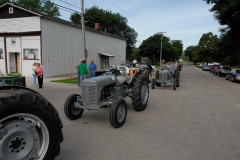 Ferguson tractors lined up for the initial trip out of Peterson.