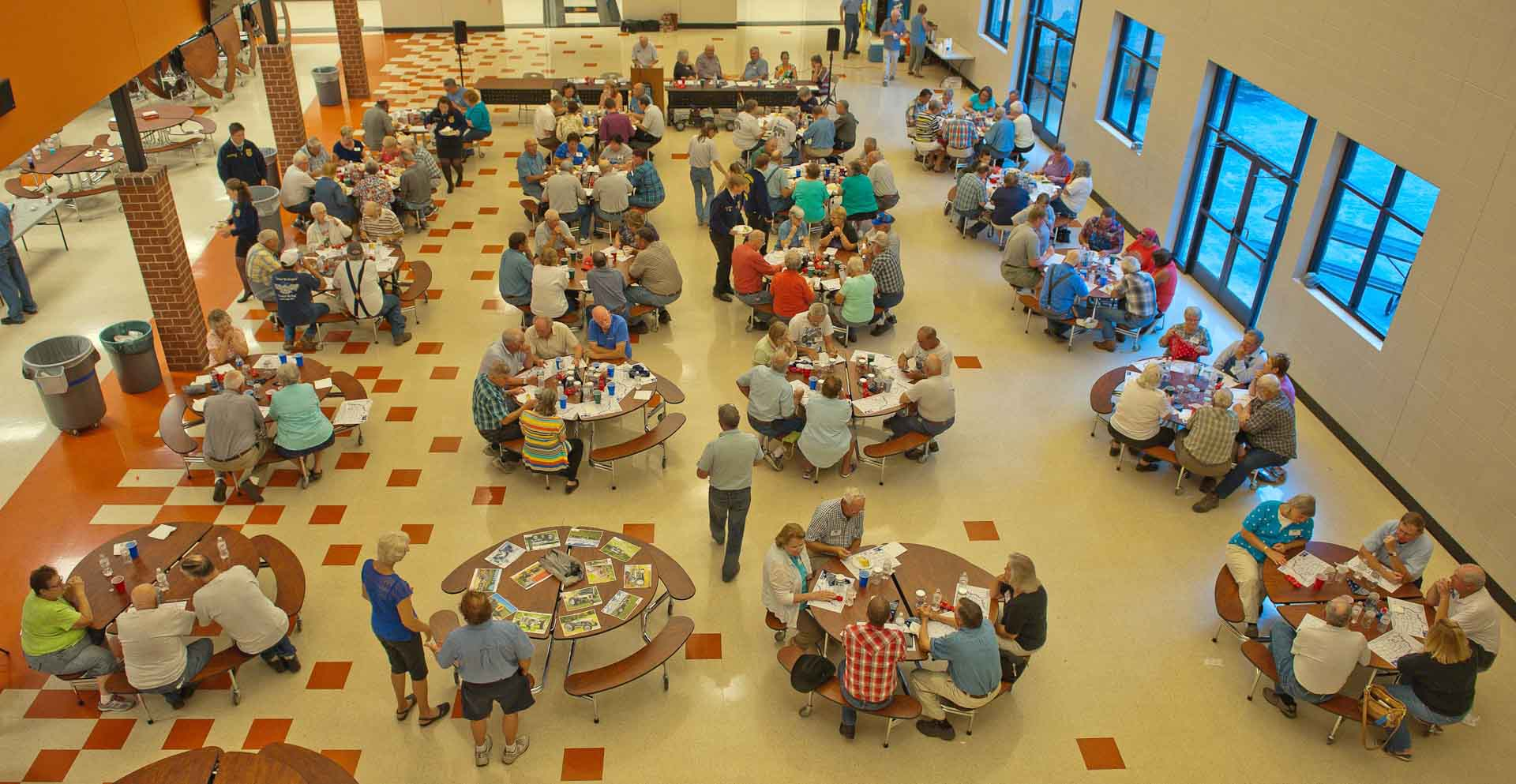 An Overhead view of dinner. There were 134 attendees.