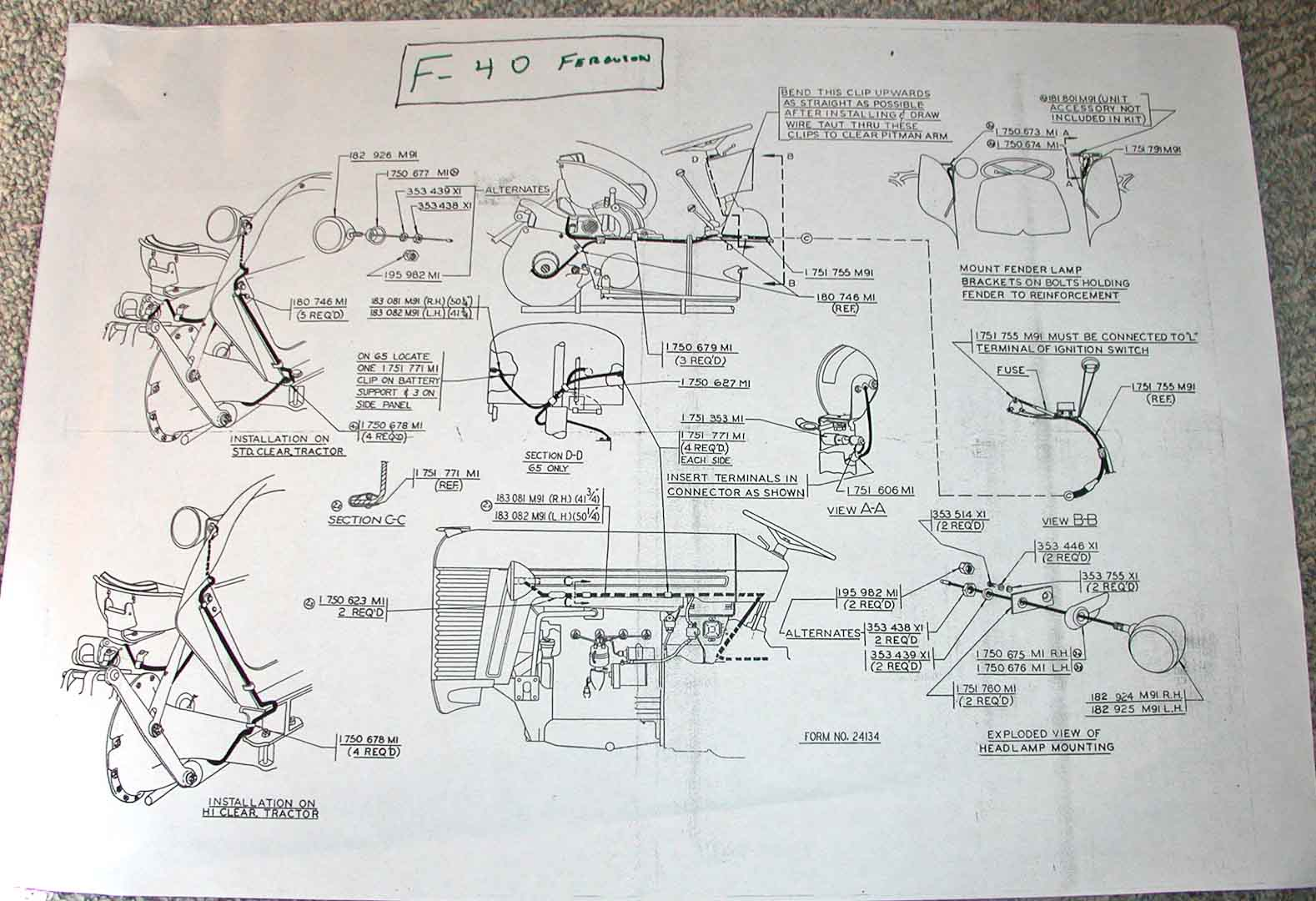 Massey Ferguson 40 Wiring Diagram Start Building A Mf 240 Harness Electrical And Lighting Diagrams Enthusiasts Of North America Rh Fergusontractors Org Gauge