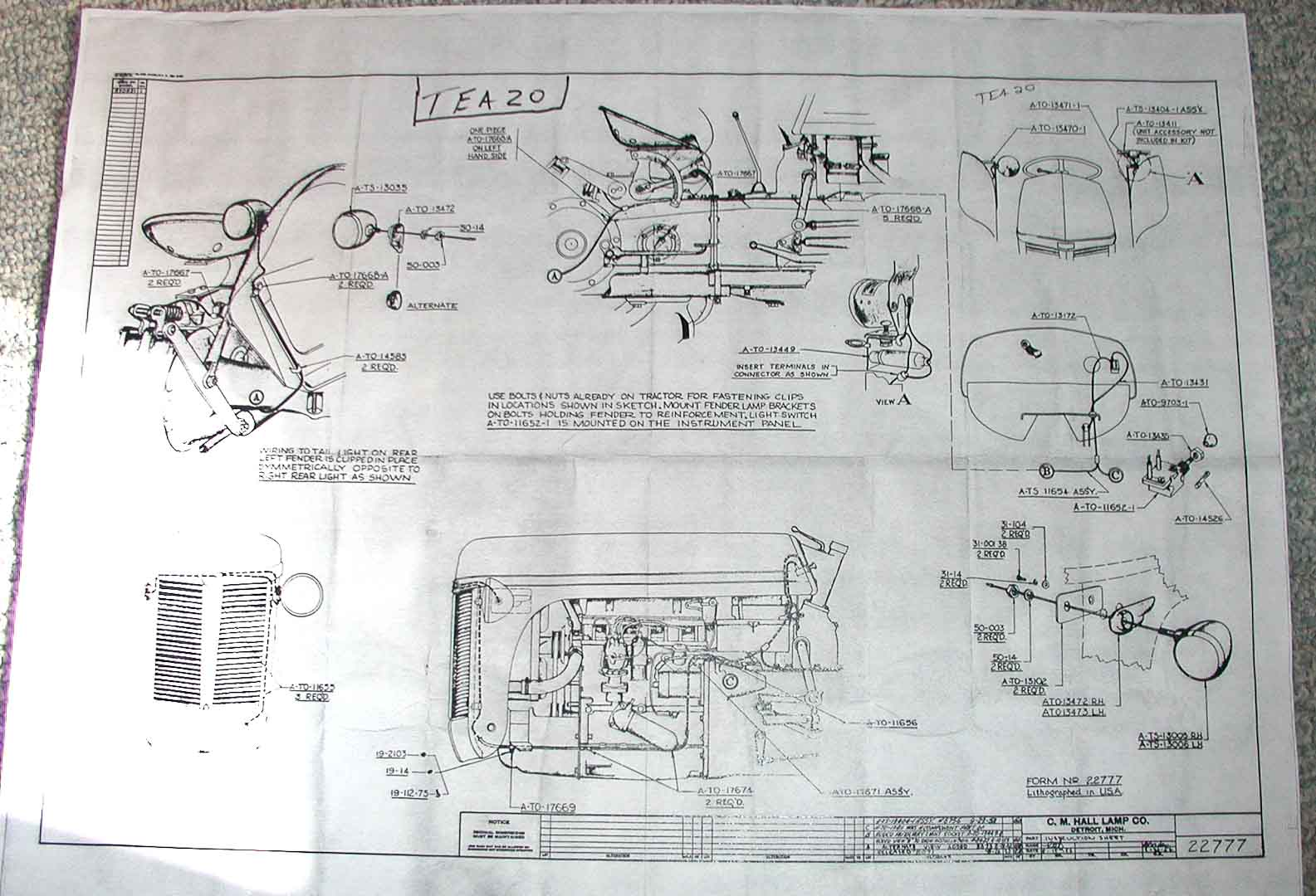 TEA20 Lighting Harness electrical and lighting diagrams ferguson enthusiasts of north ferguson to30 12 volt wiring diagram at gsmx.co