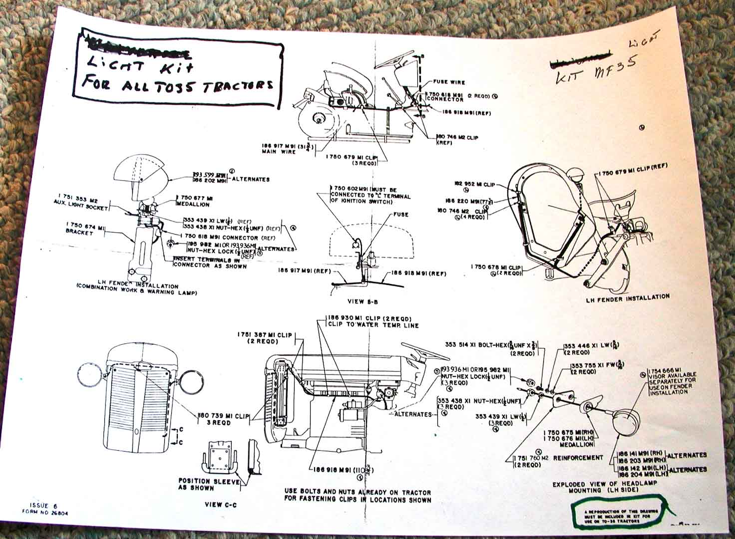 Electrical And Lighting Diagrams Ferguson Enthusiasts Of North America Light Socket Diagram To35 Kit Installation