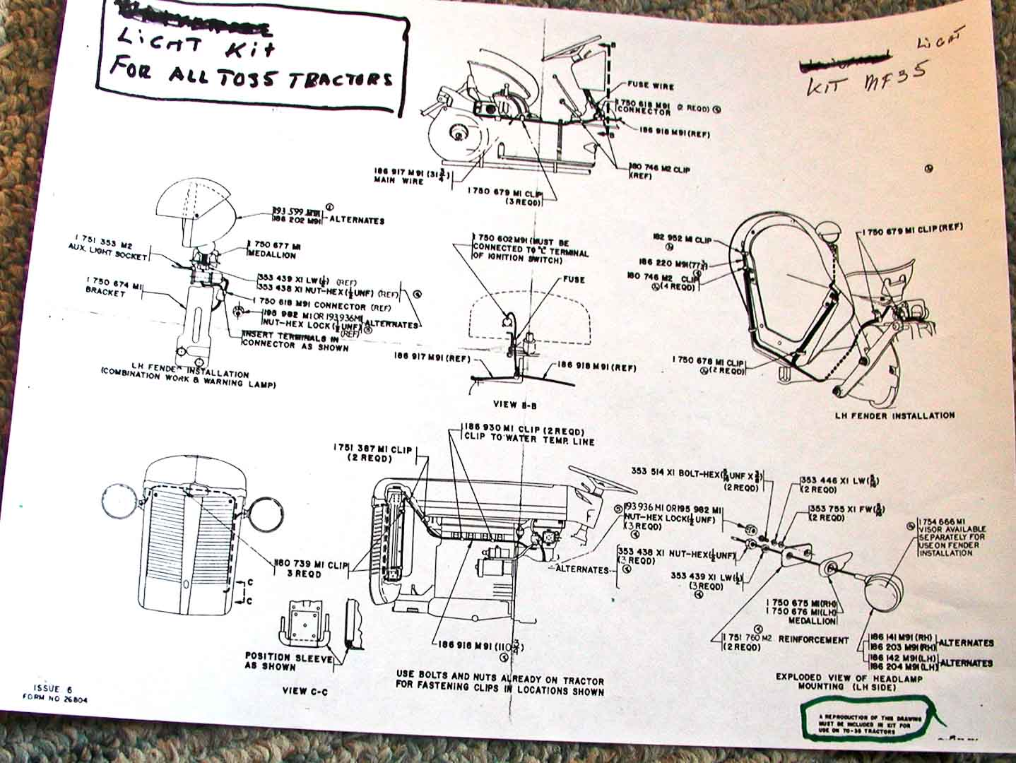 TO35 Lighting Harness electrical and lighting diagrams ferguson enthusiasts of north ferguson te20 wiring diagram at edmiracle.co